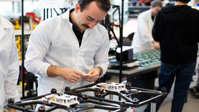 Engineer assembling drone at Fotokite HQ