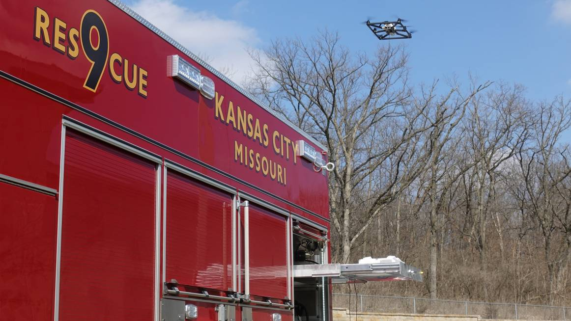 fotokite tethered drone system deployed from the fire vehicle