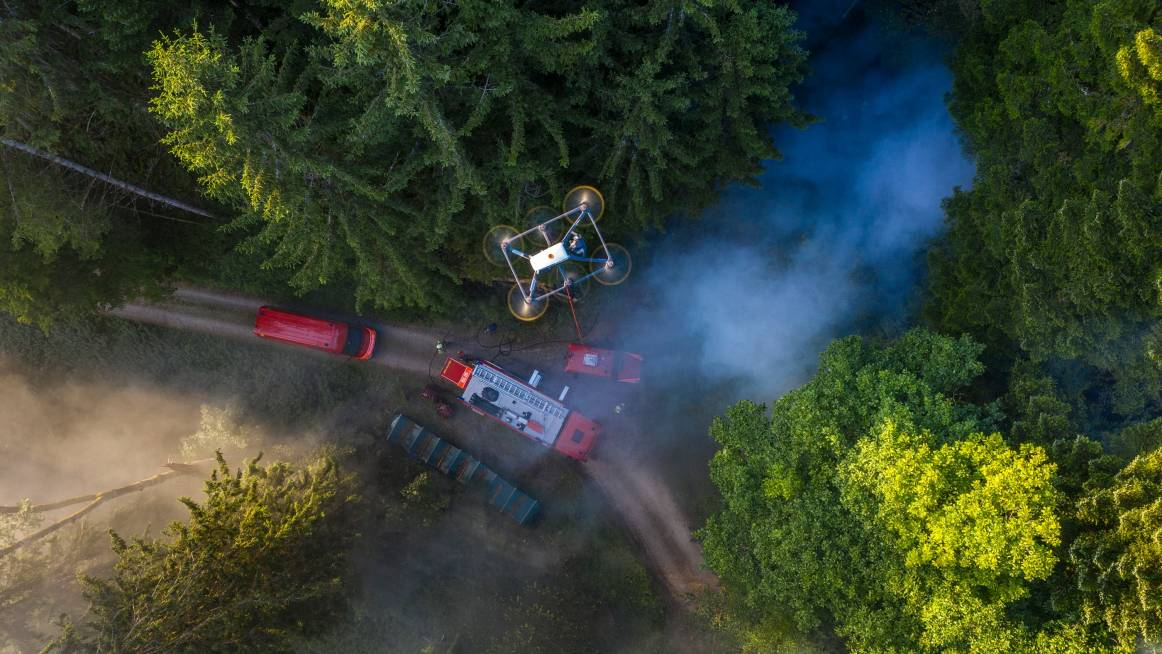 forest fire assessment with tethered drone