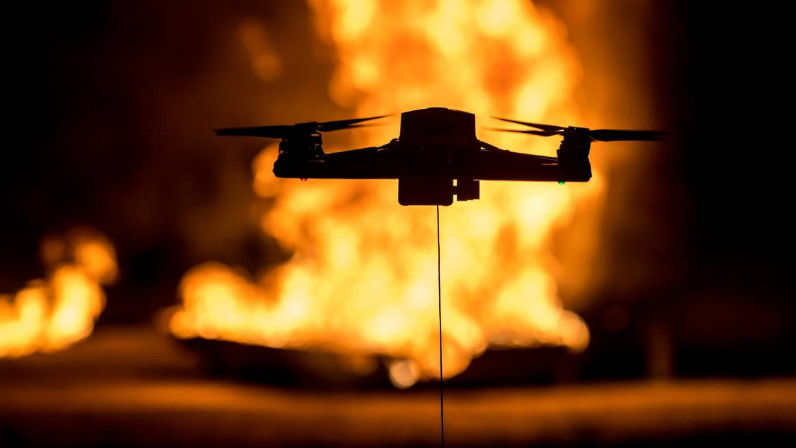 Tethered drone in fire fighting application