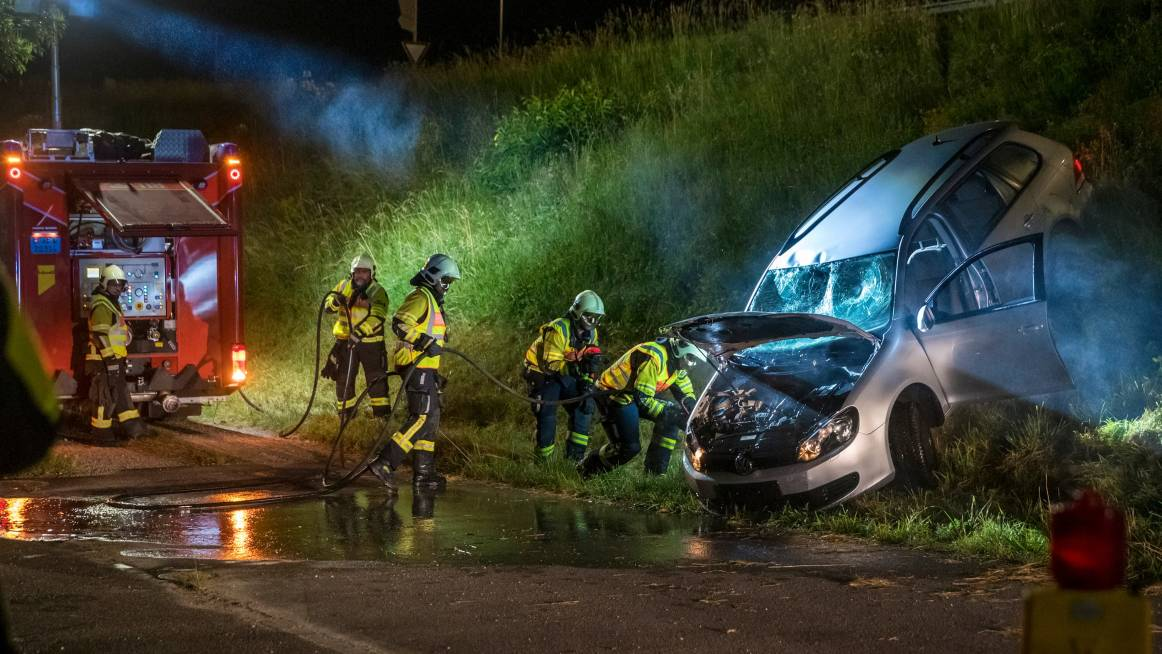 firefigthers attending to the vehicle accident