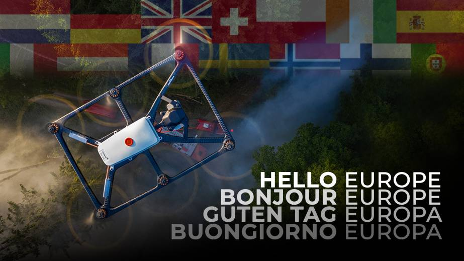 Fotokite tethered drone flying over EU flags